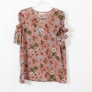 NWT Pleione Mauve Pink Floral Tie Sleeve Blouse XL